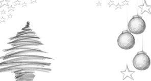 Árvore de Natal e cartões de Natal com carvão vegetal ilustração stock