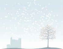 Árvore de Natal e a cidade ilustração do vetor
