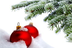 Árvore de Natal e esferas vermelhas Imagem de Stock