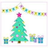 Árvore de Natal e ilustração EPS8 do vetor dos presentes Imagens de Stock Royalty Free