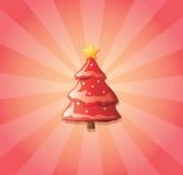 Árvore de Natal e sunburst Fotografia de Stock Royalty Free