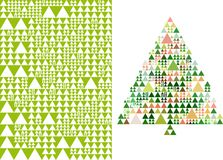Árvore de Natal e teste padrão, vetor Fotografia de Stock Royalty Free
