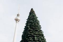Árvore de Natal em Alexanderplatz em Berlim em Alemanha Fotos de Stock Royalty Free