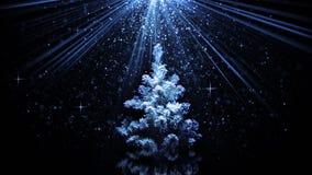 Árvore de Natal em feixes luminosos azuis ilustração do vetor