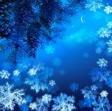 Árvore de Natal em um fundo azul do céu nocturno Fotografia de Stock Royalty Free