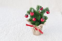 Árvore de Natal em um fundo branco fotos de stock