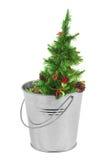 Árvore de Natal em uma cubeta do metal Imagens de Stock Royalty Free