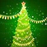 Árvore de Natal em uma obscuridade - fundo verde Vetor Fotografia de Stock Royalty Free