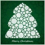 Árvore de Natal estilizado do verde do projeto de bolas do Natal Fotos de Stock