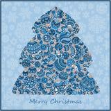 Árvore de Natal estilizado do verde do projeto de bolas do Natal Fotos de Stock Royalty Free