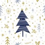 Árvore de Natal estilizado do vetor Clipart, decorado spruce Imagem de Stock