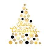 Árvore de Natal estilizado no fundo branco com projeto de rotulação na moda da mão do ouro Cartão à moda do Xmas Imagens de Stock Royalty Free