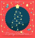 Árvore de Natal feita das luzes e das decorações de Natal Ilustração do vetor do fundo Fotografia de Stock