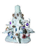 Árvore de Natal feita das velas e da cera Foto de Stock Royalty Free