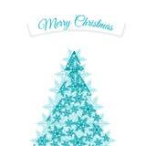 Árvore de Natal feita dos flocos de neve com fita Fotos de Stock Royalty Free