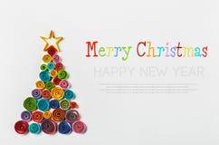 A árvore de Natal fez o ‹do †do ‹do †do papel fotos de stock