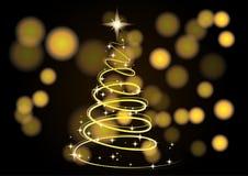 Árvore de Natal Fundo do Natal Árvore de Natal de néon do ouro como um símbolo do ano novo feliz, feriado do Feliz Natal Fotografia de Stock Royalty Free