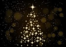 Árvore de Natal Fundo do Natal Árvore de Natal de néon do ouro como um símbolo do ano novo feliz, feriado do Feliz Natal Fotos de Stock Royalty Free