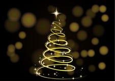 Árvore de Natal Fundo do Natal Árvore de Natal do ouro como um símbolo do ano novo feliz, feriado do Feliz Natal Fotografia de Stock Royalty Free