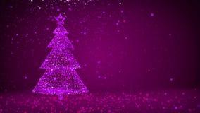 Árvore de Natal grande roxa das partículas brilhantes do fulgor no lado esquerdo da tela Tema do inverno para o fundo do Xmas com ilustração do vetor