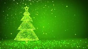 Árvore de Natal grande verde das partículas brilhantes do fulgor no lado esquerdo da tela Tema do inverno para o fundo do Xmas co ilustração stock