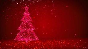 Árvore de Natal grande vermelha das partículas brilhantes do fulgor no lado esquerdo da tela Tema do inverno para o fundo do Xmas ilustração do vetor