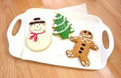 Árvore de Natal, homem da neve, pão do gengibre, cookie Fotografia de Stock
