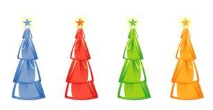 Árvore de Natal isolada. quatro cores. Vetor Fotografia de Stock Royalty Free