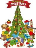 Árvore de Natal de madeira com brinquedos Fotos de Stock