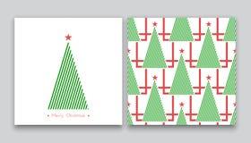 Árvore de Natal na linha arte 01 Ilustração Stock