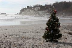 Árvore de Natal na praia foto de stock