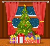 Árvore de Natal na sala de visitas ilustração royalty free