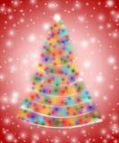 Árvore de Natal nas luzes Fotografia de Stock Royalty Free