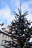 Árvore de Natal nevado com a decoração vermelha em exterior Fotos de Stock Royalty Free