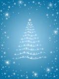 Árvore de Natal no azul 2 Fotos de Stock Royalty Free