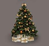 Árvore de Natal no cinza imagens de stock royalty free