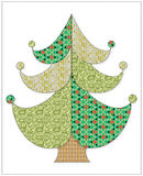 Árvore de Natal no estilo dos retalhos Foto de Stock
