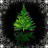 Árvore de Natal no frame nevado ilustração do vetor