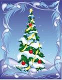 Árvore de Natal no fundo abstrato ilustração stock
