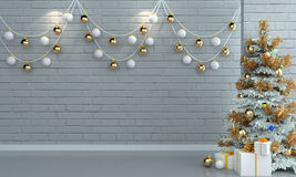 Árvore de Natal no fundo branco da parede do tijolo Fotos de Stock