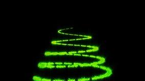 Árvore de Natal no fundo preto Rendição 3d colorida ilustração stock