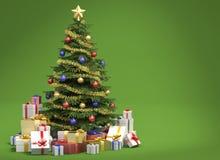 Árvore de Natal no fundo verde ilustração stock