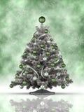 Árvore de Natal no fundo verde Foto de Stock Royalty Free