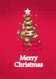 Árvore de Natal no fundo vermelho Fotos de Stock Royalty Free