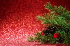 Árvore de Natal no fundo vermelho de brilho Fotografia de Stock Royalty Free
