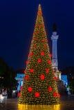 Árvore de Natal no quadrado de Rossio, Lisboa, Portugal Imagem de Stock Royalty Free