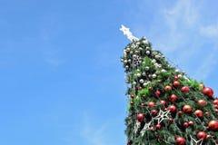 Árvore de Natal no tempo do dia Imagens de Stock Royalty Free