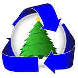 Árvore de Natal que recicl o ícone Fotos de Stock Royalty Free