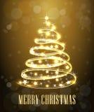 Árvore de Natal Redemoinho das luzes de néon Linha de incandescência da decoração para o cartão do xmas, bandeira Ilustração do v Imagem de Stock Royalty Free