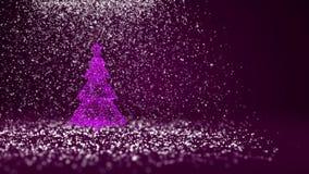 Árvore de Natal roxa das partículas brilhantes do fulgor na esquerda no tiro largo do ângulo Tema do inverno pelo Xmas ou o ano n ilustração do vetor